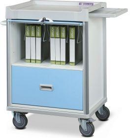 Carrello Porta Cartelle cliniche azzurro