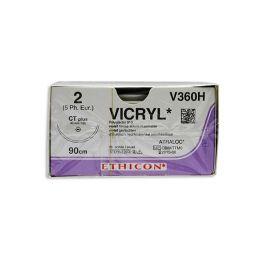 Sutura Vicryl 2 Ethicon assorbibile con ago Mh-1 e L filo 90 cm
