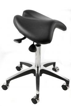 Sgabello a sella con seduta girevole e altezza regolabile. Blu