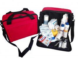 Borsa emergenza 600D colore rosso con Kit medicazione