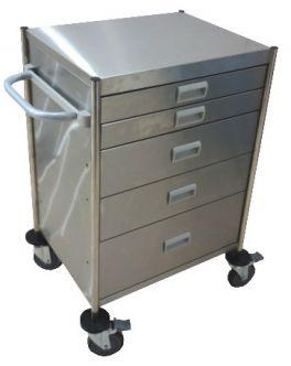 Carrello terapia in acciaio Inox - a 5 cassetti