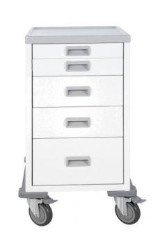 Carrello ospedaliero terapia mini 5 cassetti con piano in ABS