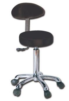 Sgabello ergonomico imbottito con schienale nero GIMA