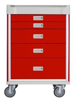 Carrello per emergenza a 5 cassetti, colore rosso